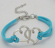 Connected Hearts Turquoise Blue Suede Leather Straps Love / Friendship Bracelet