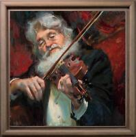 "Hand painted Original Oil painting art Impressionism musician on Canvas 30""X30"""