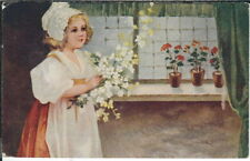 BA-400 Girl in Bonnet with Flowers, 1907-1915 Golden Age Postcard, Vintage