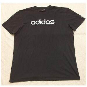 XLT Adidas Black White Cotton Mens Mans Crew Neck Graphic Tee T-Shirt Top Go-To