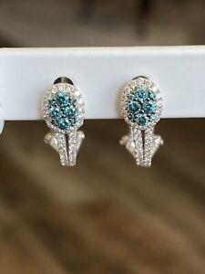 14K Solid White Gold Clear & Blue Color Diamond Earrings