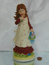 1973 Holly Hollie Hobbie Hobby Flower Basket Porcelain Doll Figurine Figure Mint