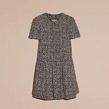 BURBERRY - Lorraine Flora 'Petals' Prints Mulberry Silk Dress 14 L $795 NEW