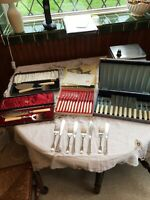 Cutlery: Job Lot Of Vintage Fish Cutlery, 4 X Boxed Sets, Silver Plate + Chrome