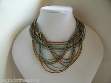 New Beautiful Beaded Necklace Art Nouveau Style in Turquoise Black Gold or Blue