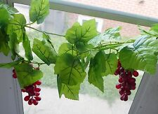 7.5 FT Artificial Grape Leaf Vine Garland Wedding Decor (3 Bunches Grape)