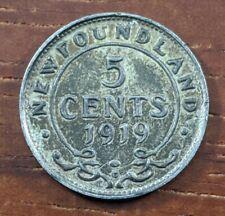 1919 AU Newfoundland Canada 5 Five Cents Silver Half Dime Coin Lot D78