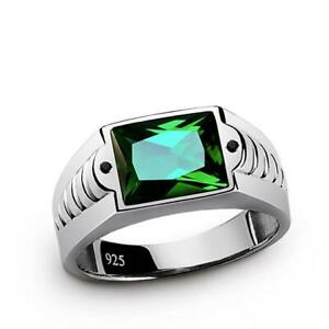 925 Sterling Silver Band Men's Emerald Gemstone Ring with Black Onyx Accents