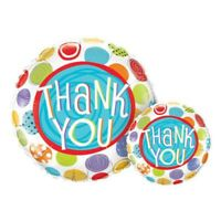 """ROUND THANK YOU PATTERNED DOTS FOIL BALLOON 18"""" THANK YOU FOIL BALLOON QUALATEX"""