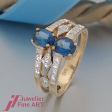 Safir-Ring mit 2 Saphiren und 24 Brillanten (Diamant) - 14K/585 Gelbgold