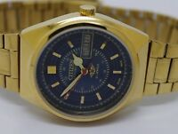 CITIZEN AUTOMATIC GOLD PLATED GENT VINTAGE BLUE DIAL DAY/DATE WATCH RUN ORDER