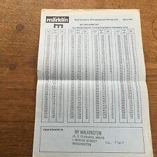 1979 Marklin Price List Model Train Railway Rail Interest German Toy HO Gauge