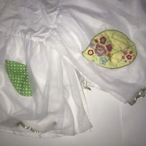 Pottery Barn Kids FULL Bedskirt Floral Tulle White Sheer Appliques