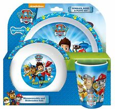 Paw Patrol Ryder Chase Rubble Marshall Tumbler Bowl & Plate Set For Kids - Blue