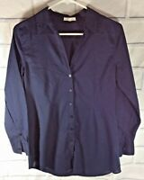 EILEEN FISHER Navy Blue 100% Organic COTTON SZ Small SHIRT Blouse Button (Om)