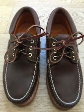 Timberland Classic 3-eye Handsewn Lug Boat Shoes Brown Leather Men's US 7