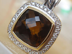 $1575 DAVID YURMAN 18K,SS ALBION CINNAMON QUARTZ DIAMOND ENHANCER