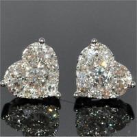Glitter 925 Silver White Sapphire Heart Stud Earrings Wedding Jewelry For Women