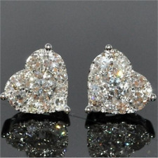 Women's White Sapphire 925 Silver Heart Stud Earrings Wedding Party Jewelry Gift