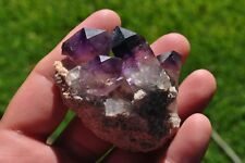 Deep Amethyst 2x Enhydro Brandberg quartz crystal cluster on matrix Namibia