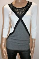 Rockmans Brand White Grey Black Lace 3/4 Sleeve Knit Top Size XS BNWT #RB36