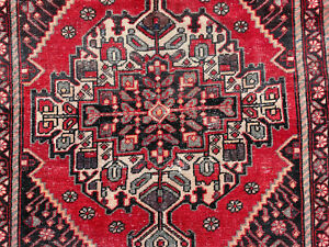 4x6 VINTAGE RED WOOL RUG HAND-KNOTTED oriental antique handmade worn blue 5x6 ft