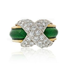Tiffany & Co. 18K Gold Schlumberger X With Green Enamel Platinum Ring Size 5