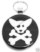 PET TAG BLACK CROSS BONES - ( Free Engraving ) Cat & Dog Disc - BLACK Large
