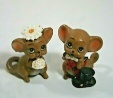 Two Ceramic Colorful Wedding Mice, a Boy and a Girl by Josef Originals.