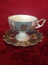Vintage Luster Cup Saucer Pedestal Base Reticulated Saucer Fragonard Scenes
