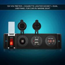 12V Voltmeter Cigarette Lighter Dual USB Power Socket Switch Panel for Marine