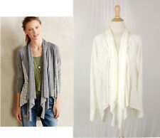 Anthropologie Tiny Brand Stratigraphy Cardigan M Ivory Draped Open Cotton Blend