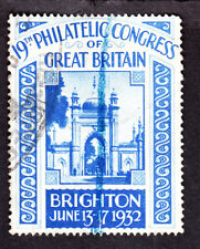 GB 1932 19th Philatelic Congress of Great Britain Poster Stamp w/ Partial Can