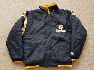 VINTAGE PITTSBURGH STEELERS NFL STARTER STYLE JACKET BOYS JACKET COAT XL 18-20