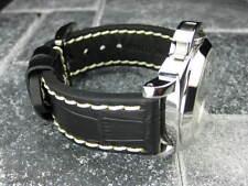 New BIG CROCO 24mm PANERAI Black LEATHER STRAP White Stitch watch Band 24