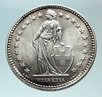 1939 SWITZERLAND - SILVER 2 Francs Coin HELVETIA Symbolizes SWISS Nation i82447