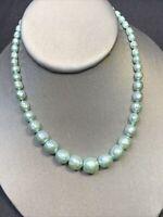 "Vintage 1950s Irregular Pearl Metallic Aqua Mint Strand Necklace Hook Clasp 16"""