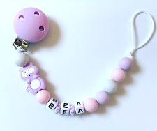 Schnullerkette Nuckelkette aus Silikon mit Namen Wunschname grau rosa lila