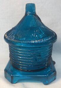 Boyd Art Glass Bee Hive Honey Jar In Blue Flame