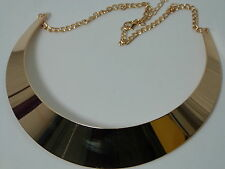 GOLD CHOKER VINTAGE CHUNKY METAL STATEMENT NECKLACE COSTUME JEWELERY CHAIN