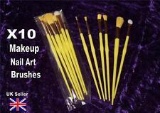 MAKEUP BRUSHES nail art X10 eyeshadow lip liner gloss yellow bargain pack