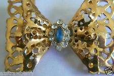 Gold Tone Filigree Blue & Clear Crystal Bow Pin Brooch