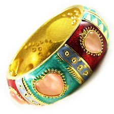 Bracelet CLOISONNE enamal Retro Vintage Style GOLD Gemstone colorful charm WIDE