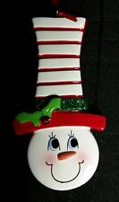Personalized Family Snowman Face Hat up to 6 spaces Christmas Tree Ornament