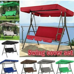 Replacement Swing Seat Canopy Cover Set Garden Chair Hammock Cushion 2/3 Seater