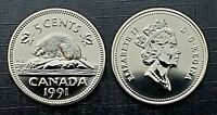 Canada 1991 Proof Like Gem Five Cent Nickel!!