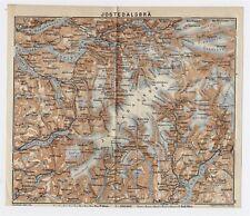 1912 ORIGINAL ANTIQUE MAP OF JOSTEDALSBREEN GLACIER PARK / NORWAY