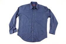 Robert Graham Mens XL Diamond Print Long Sleeve Contrast Cuff Dress Shirt Blue