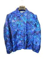 Chico's Size 1 M Blue Purple Paisley Silk Shirt Beaded Blazer Button Unlined