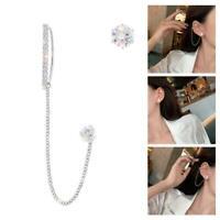 Mode Silber Kristall Quaste Ohrringe Ohrclip Manschette Kette Nieten Frauen Q6N6